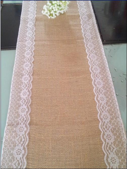 2015 wedding burlap table runner /burlap lace table runner/ home party table decoration/wedding table decoration(30cmx270cm)(China (Mainland))