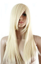 Wholesale& heat resistant LY free shipping>>>Fashion Women Long Straight Hair Synthetic Hair Blonde Layer Wig