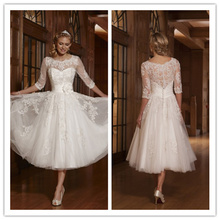 Short Wedding Dresses 2017 Scoop Half Sleeve Button Mid-Calf Short Mini White Bridal Dress Sashes with Flower Vestido De Noiva(China (Mainland))