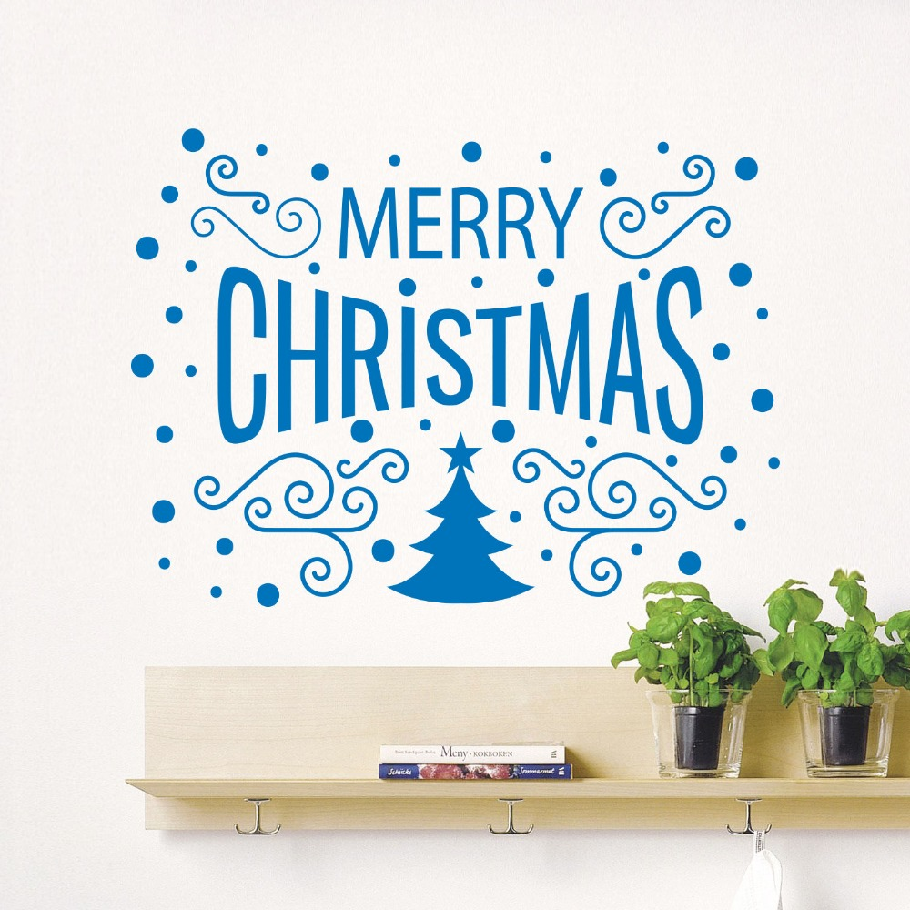 Merry Christmas Decor Tree Removable Windows Vinyl Wall Decal Home Decor Cafe Store Shop Market Window Stickers Home Decor Mural(China (Mainland))