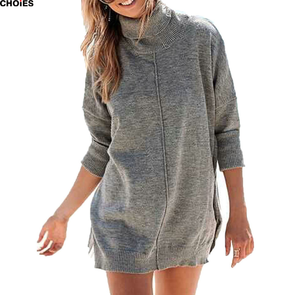 Women Gray High Neck Split Side Longline Knitted Sweater 2016 Sping Autumn Long Sleeve Casual Loose Simple Sweater Clothing