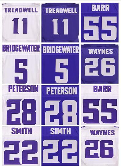 Good quality,Men's 11 Laquon Treadwell 5 Teddy Bridgewater 22 Harrison Smith 28 Adrian Peterson 55 Anthony Barr elite jerseys(China (Mainland))