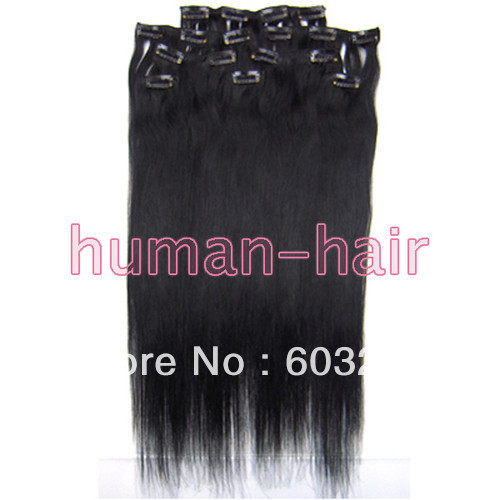 1 pack 20 8pcs/pack clip in human hair extension #1 Jet black color 100gram<br><br>Aliexpress