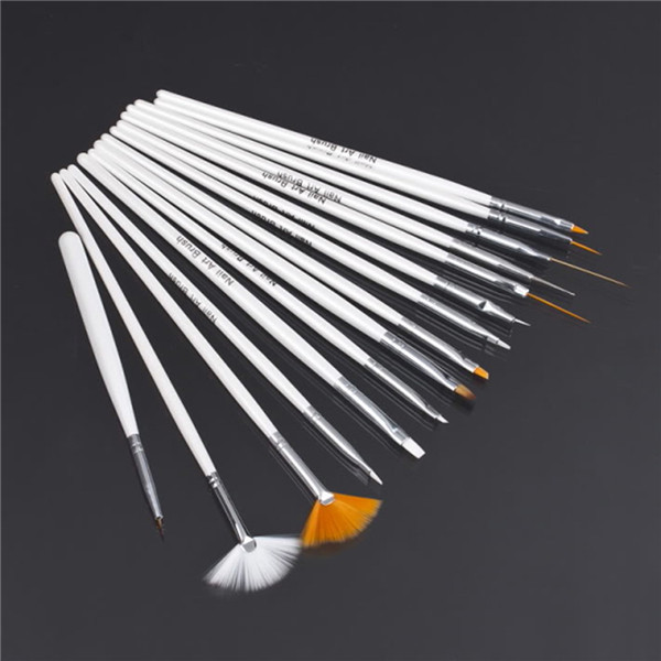 15pcs Nail Art Decorations Brush Set Tools Professional Painting Pen for False Nail Tips UV Nail