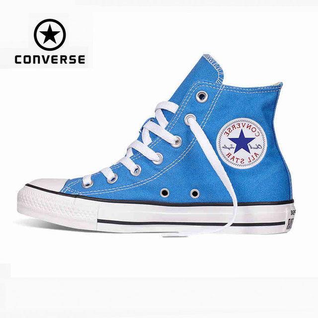 Первоначально конверс все звезды обувь голубой высокого женские кроссовки холст обувь для женщин высокого скейтбордингом обувь бесплатная доставка