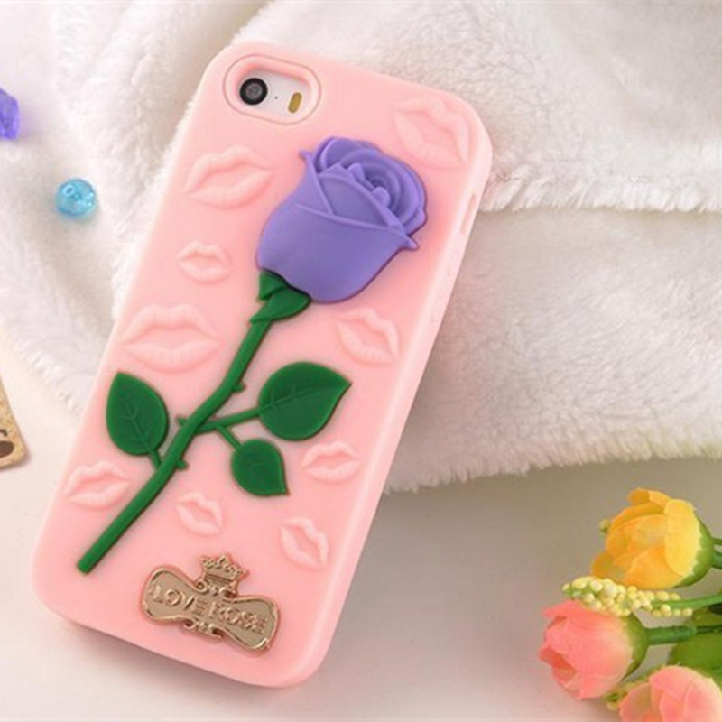 2016 Fashion Silicone 3D black Rose Floral Flower silicone Case for iPhone SE 5 5S 6 6S Protection cover case Simpsons designed(China (Mainland))