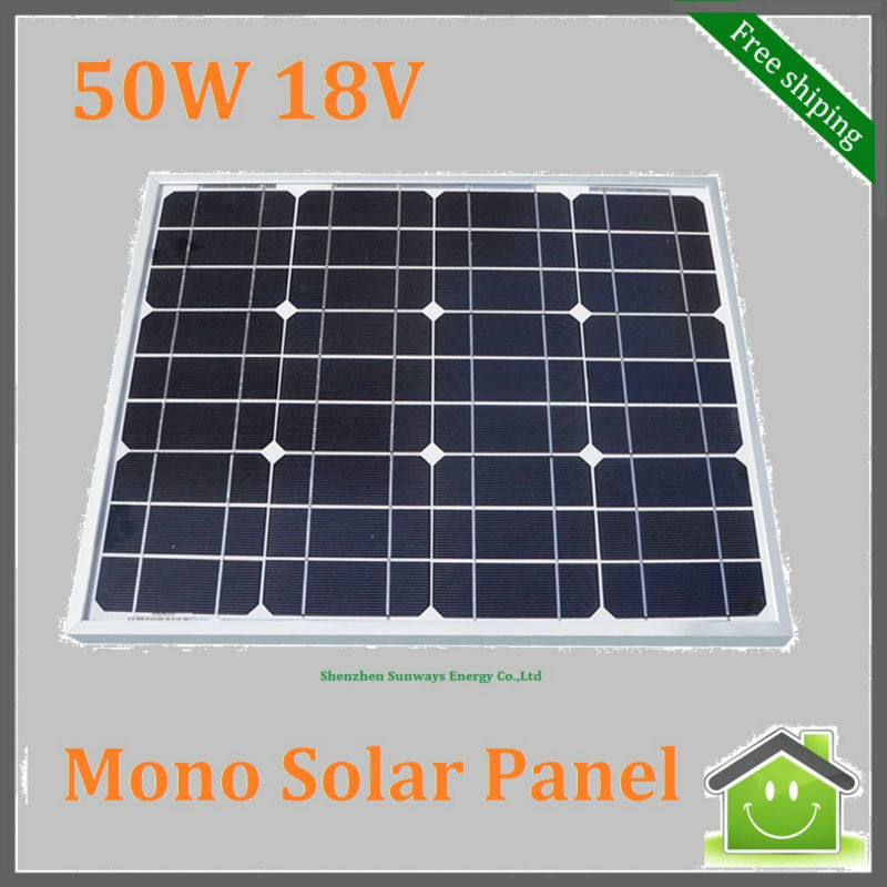 50W Monocrystalline Silicon Solar Panel used for 12V Photovoltaic Power Home System, 50Watt 50WP 12VDC PV Mono Solar Module(China (Mainland))