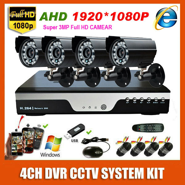 Super HD 3MP 4 Channel Surveillance 1920P Home Black Bullet Security Camera 1080P Record DVR Kit AHD Outdoor 4CH CCTV System Kit(China (Mainland))