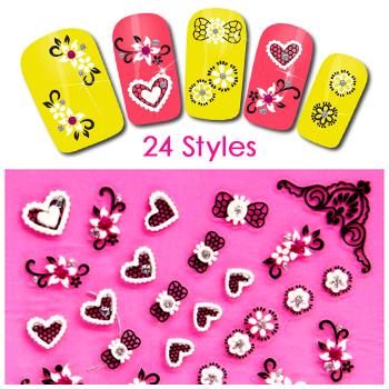 Cute Nail Polish Sticker 1 Sheet 3D Nail Art Tools Brand Nail Stickers Decorations Designer Manicure All For Nail MJ1022(China (Mainland))