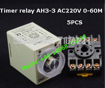 220VAC Power off delay Time Range 0-60 minutes ah3-3 Timer Delay Relay with base PF083A 5pcs free shipping<br><br>Aliexpress