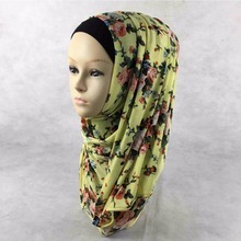 Muslim hijab 11 colors Fashion Jersey Cotton Headband floral design Women scarves & wraps Free Shipping Islamic Hijab(China (Mainland))