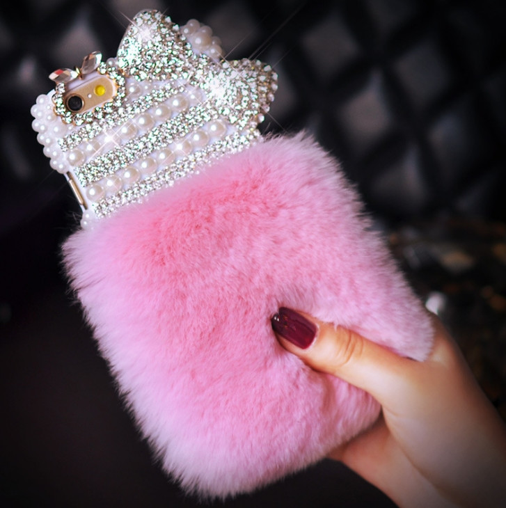 Luxury Bling Diamond Bowknot Rabbit Fur Furry Warm Case Cover iPhone4S 5S 5C 6/6P 7/7P samsungS3 S4 S5 S6E S7E N3 N4 5 7