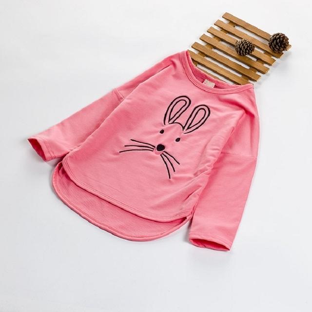 Новая коллекция весна осень 2016 детей девушки футболки мультфильм дизайн девушка одежда футболка вершины хлопка тис 3 цвета