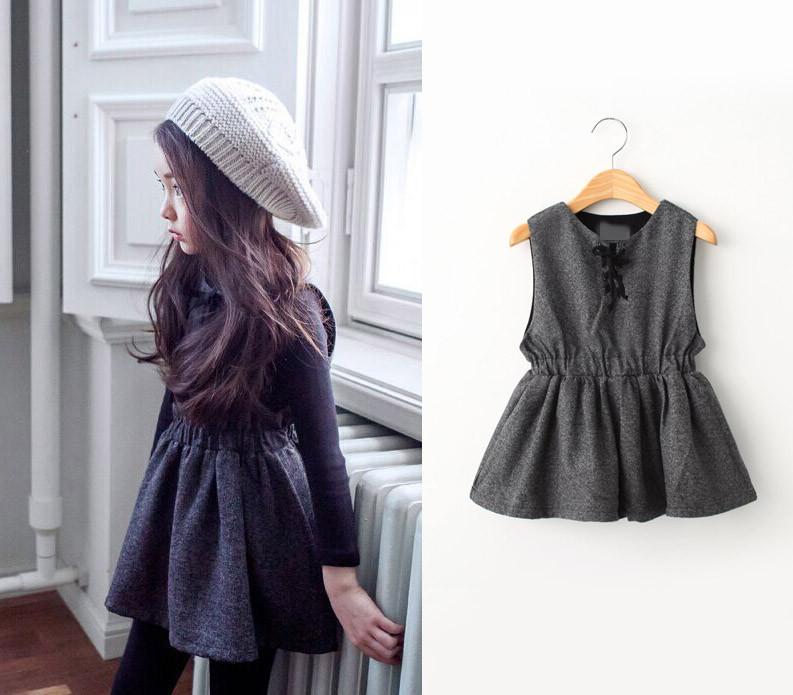 2015 Winter Girls Dress Thicken Girls Warm Cashmere vest Dress Kids Cute Style Comfortable material big Peplum with Dresses(China (Mainland))
