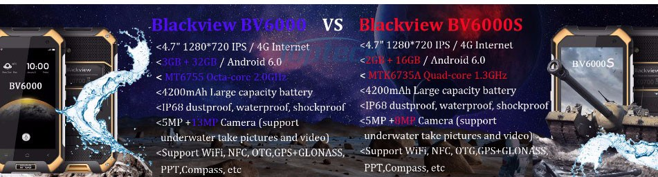 Original Three Mobile phone Android 6.0 Blackview BV6000 smartphone 4G MTK6755 3GB+32GB 13MP Navi IP68 WaterProof Cellphone