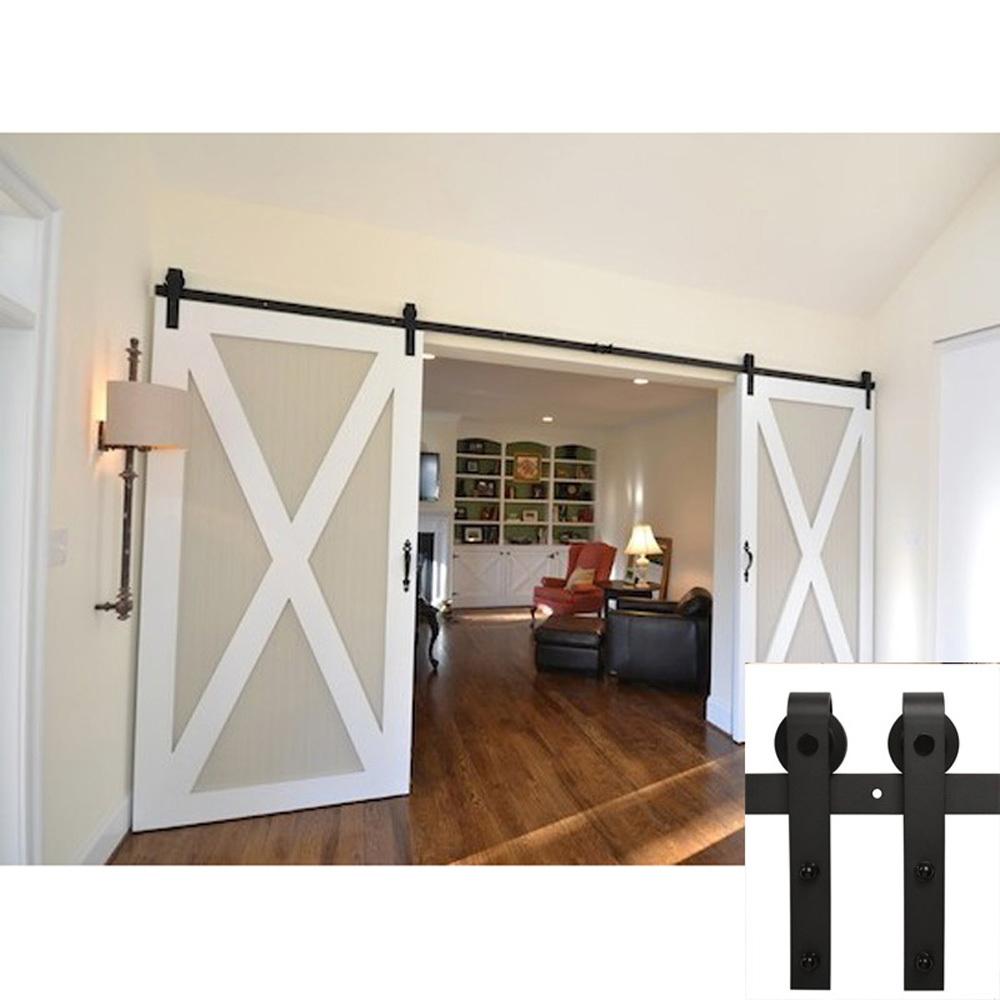 Buy 7 5 Ft American Barn Door Hardware Sliding Two Door Black Steel Cabinet