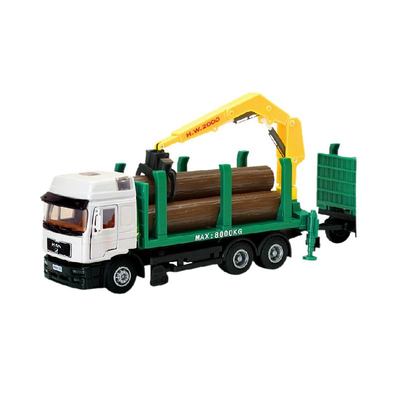 Alloy Diecast Trailer Truck Model with Wood 1:40 mini Engineering car Collection gifts Toy(China (Mainland))