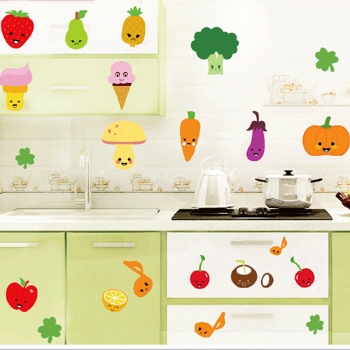 Kitchen Tiles Fruits Vegetables: 1 Set Removable PVC Decals Vegetable And Fruit Expressions