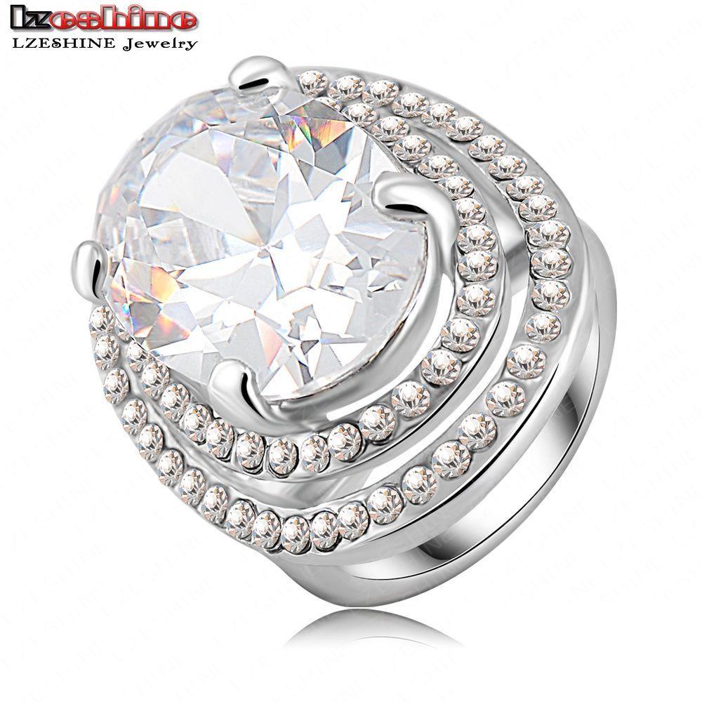 Luxury Classic Dress Rings Platinum Plating Austrian Crystal SWA Elements Engagement Rings For Women Ri-HQ0156(China (Mainland))
