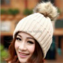 Hot sales Classic Tight Knitted Fur Hat Women Cap Winter Beanie Headgear Headdress Head Warmer Top Quality free shipping(China (Mainland))