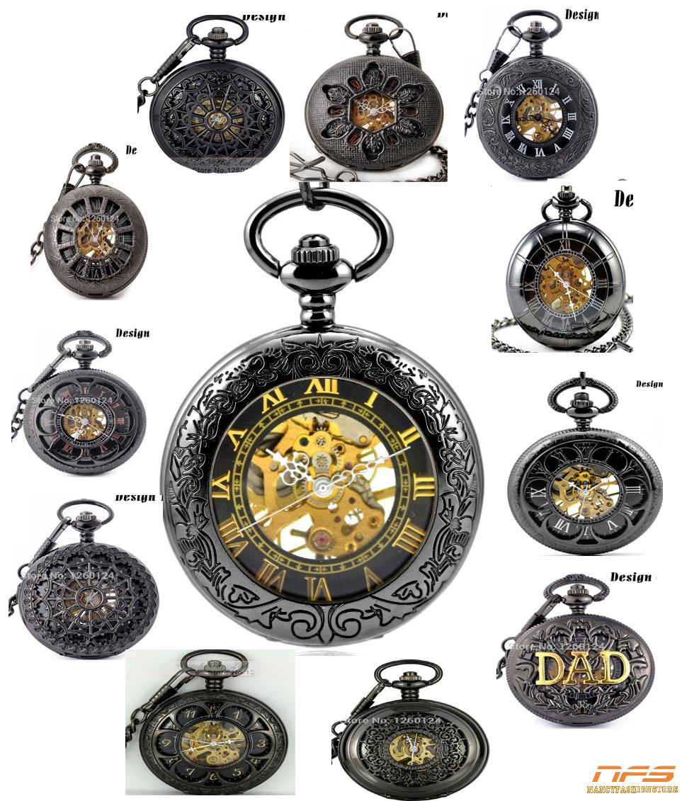Flower pattern printed Machinery pocket watch. 37.5cm chain nightmare before christmas men's pocket watch(China (Mainland))