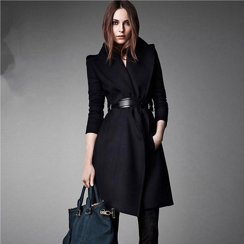New Women  Woolen Coat Brand European Elegant Female Luxury Wool Coats Long Winter Slim Dark Blue Overcoat  abrigos YB-986Одежда и ак�е��уары<br><br><br>Aliexpress