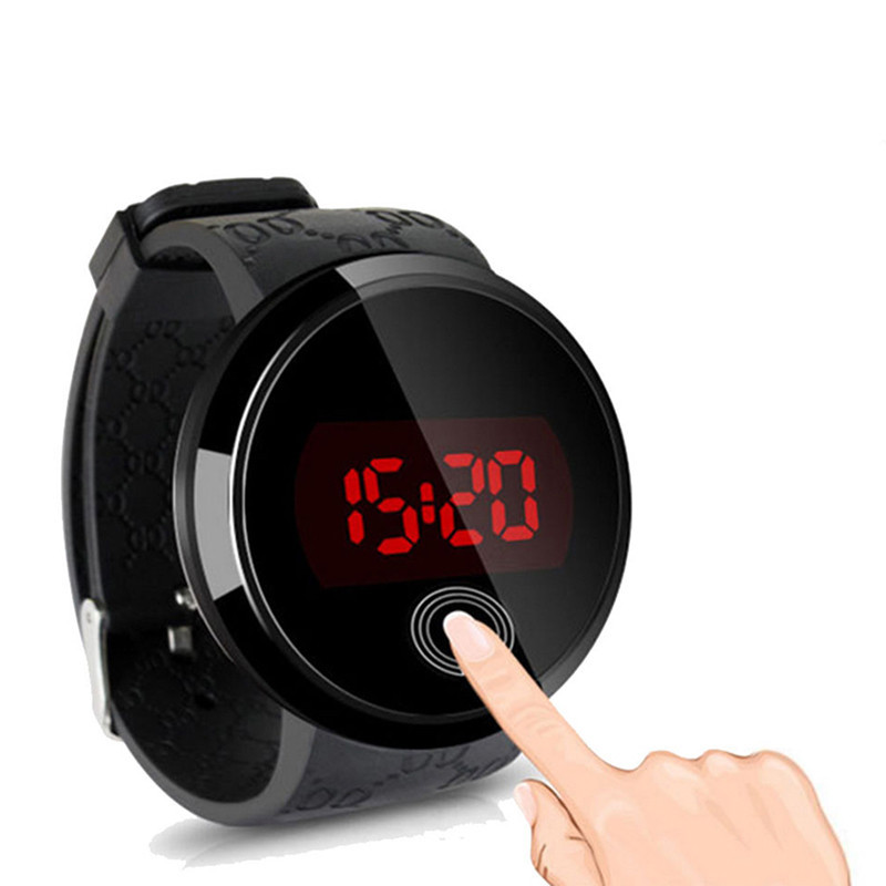 2015 New Arrival Hot Fashion Waterproof LED Touch Screen Day Date Silicone Digital Watch For Men High(China (Mainland))