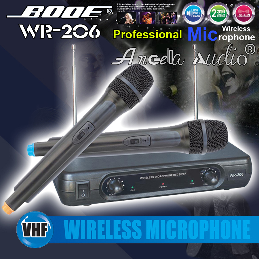 Free Shipping ! Professional WR-206 Handheld Dynamic VHF Wireless Microphone System Mic Mike For Karaoke KTV Stage DJ Conference(China (Mainland))