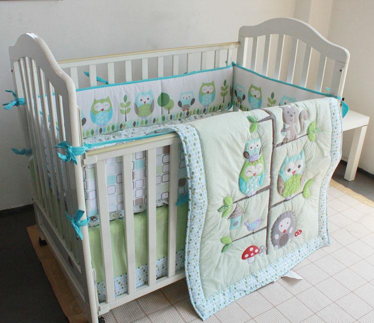 4pcs Applique Embroidery Baby Bedding Crib Set Quilt