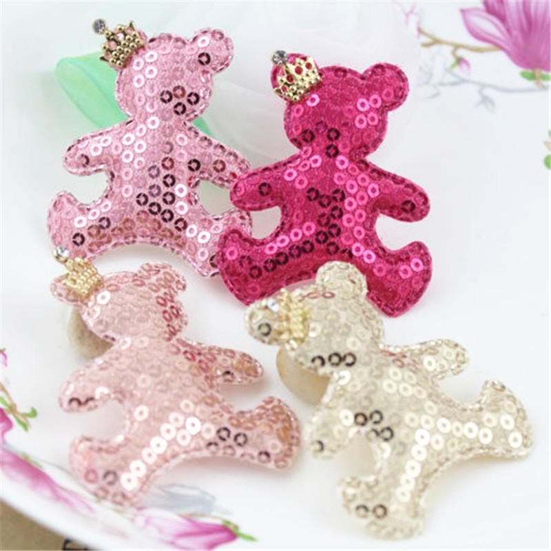 Newest Cute Sequin Glitter Crown Animal Bear Patch Doll Toy Girls Princess Hair Bow Center DIY Jewelry Decoration Button Sticker(China (Mainland))