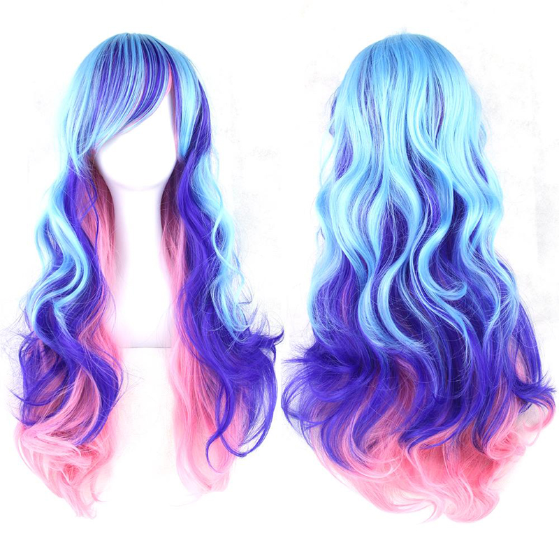2016 New  Womens Harajuku Lolita Rainbow 70cm Long Curly Hair Ladies Multi-colored Full Wigs Anime Cosplay Wig Free shipping<br><br>Aliexpress