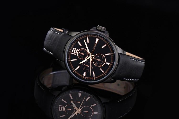 2016 горячие продажа топ luxury brand WHESTCHI кварцевые спортивные натуральная кожа высокого qulity три набора часы