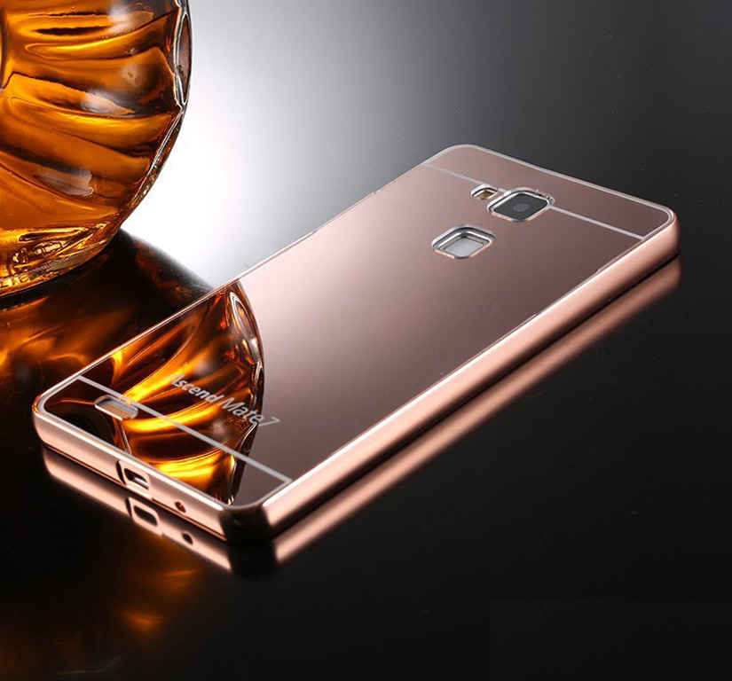 Rose gold metal aluminum frame mirror acrylic back cover for huawei
