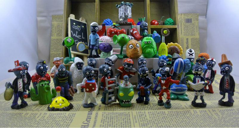 Popular Game Plants Vs Zombies 40 Pcs set Minifigures Bandai Anime Pvc Action Figure Jouet Juguetes Kids Hot Toys for Boys Girls