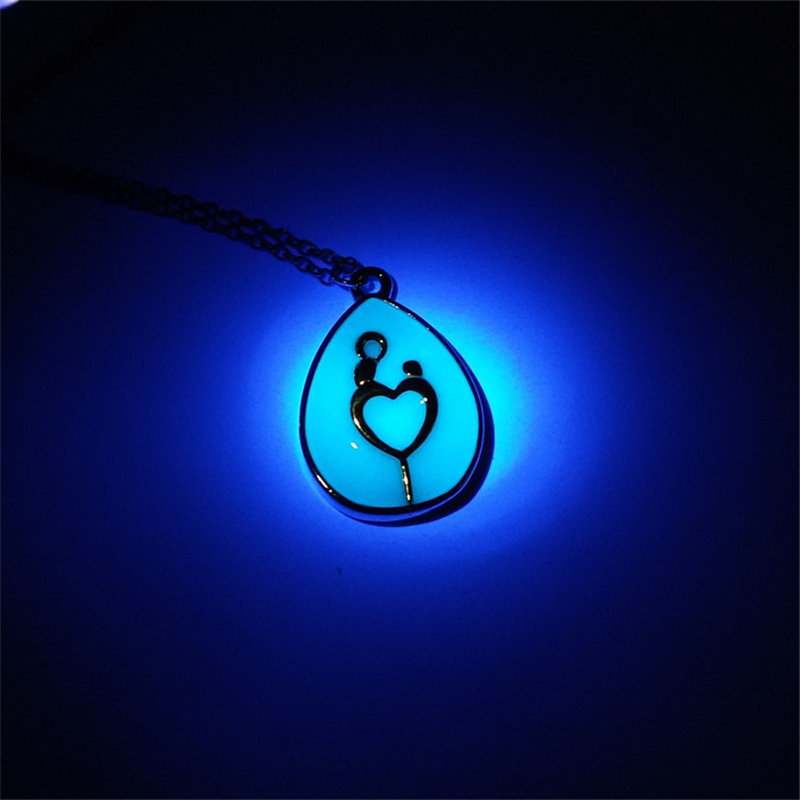 2016 Fashion Water Drop Blue Glow in Drak Necklace Gold Plated Mother and Child Pendant Charm Jewelry Mother's Day Gift(China (Mainland))