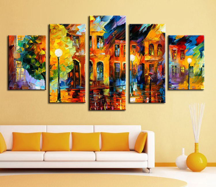 Hand Painted Stretched Framed Oil Wall Art European Street
