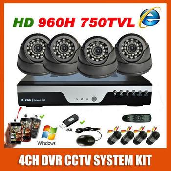Best HD Sony 960H Effio 750TVL Video Surveillance Camera kit Indoor Dome Home CCTV System 4CH DVR kit