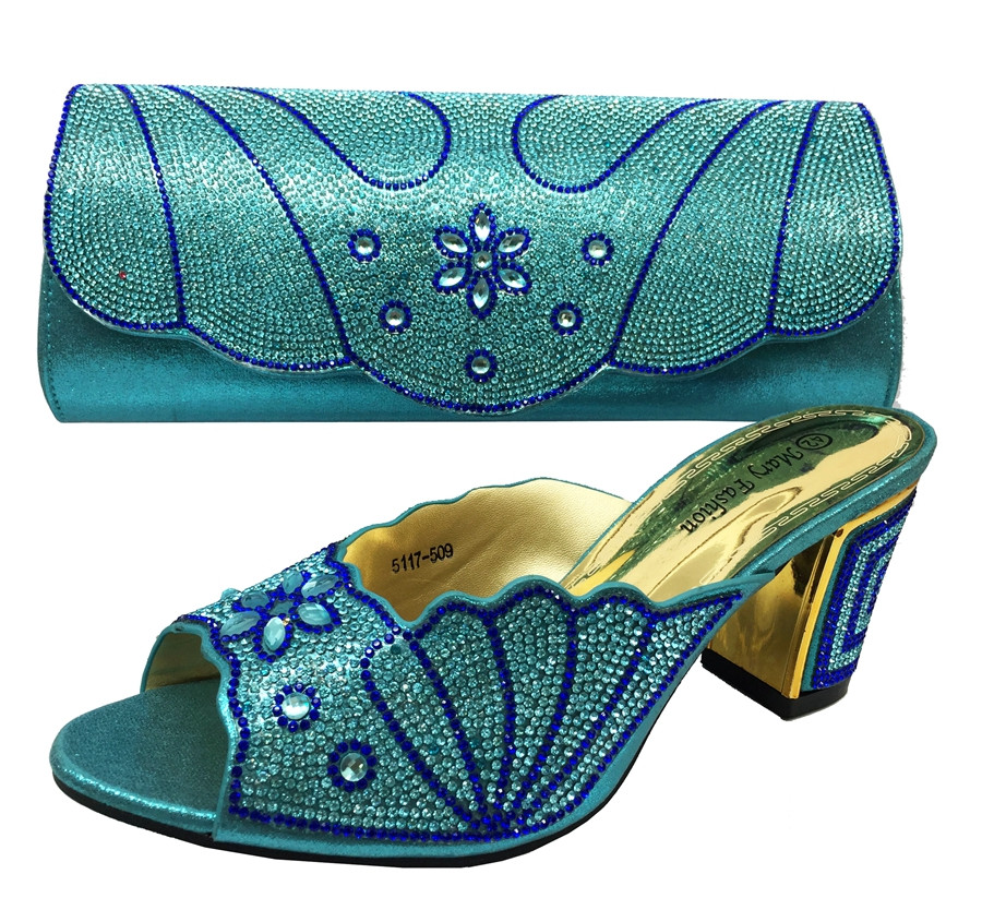 2016 Latest Fashion African Prom Bags And Shoes Sets With Rhinestones Decoration Italian Shoes With Matching Bag Size 37-42 BL15(China (Mainland))