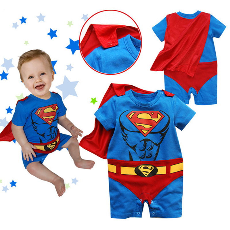2016 news kids boy girls rompers casual girls clothes cartoon long and short sleeve Superman Batman Spider-Man children clothing(China (Mainland))