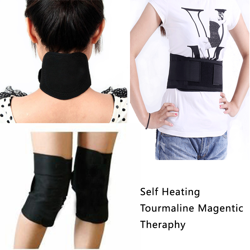 self-heating waist support Tourmaline belt magnetic therapy neck guard Tourmaline knee pad thermal protection kneepad 4pc set(China (Mainland))