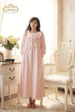 Free Shipping 100% Fleece Princess Nightgown Women's Winter  Long Robe  Pink and Purple pajamas(China (Mainland))