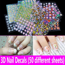 Buy 50 Sheets 3D Nail Art Stickers Nail Decal Fashion Flower Foil Nail Decoration Tool Paper Applique Manicure Design Accessories for $2.82 in AliExpress store