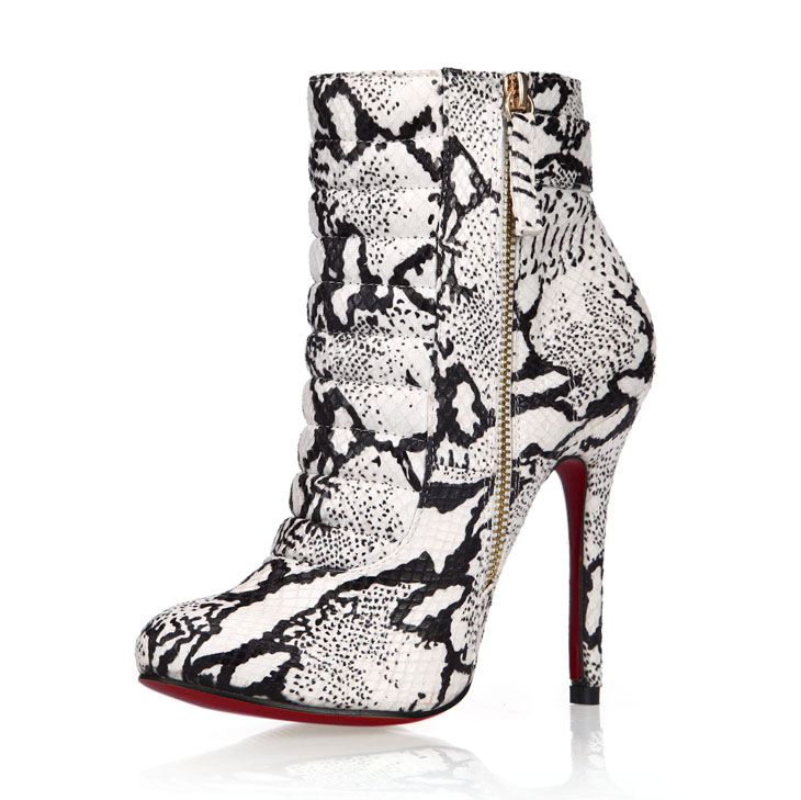 Sexy Female Boots 2016 Winter New European And American Serpentine On Red High-heeled Side Zipper Boots