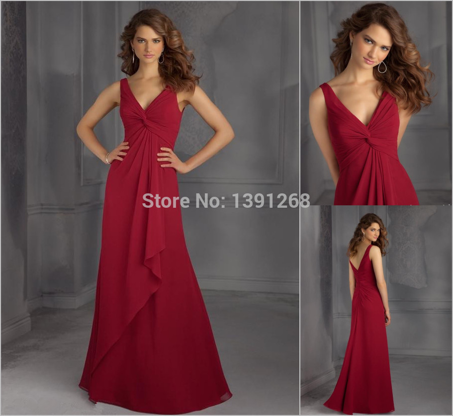 Red long chiffon bridesmaids dresses 2015 cheap under 100 for Long wedding dresses under 100