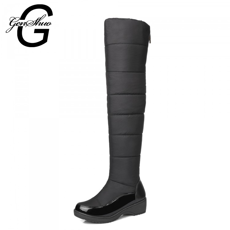 New Snow Boots Keep Warm Fashion Platform Fur Thigh High Knee Boots Warm Winter Boots for Women Shoes Boats Black