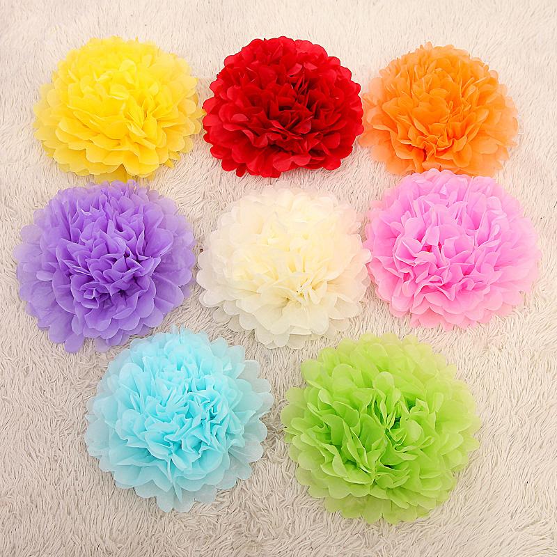 10PCS 6inch Top Fashion Christmas Paper Flower Pompon Sale Flores Artificiais Artificial Wedding Decoration Pom-pom(China (Mainland))
