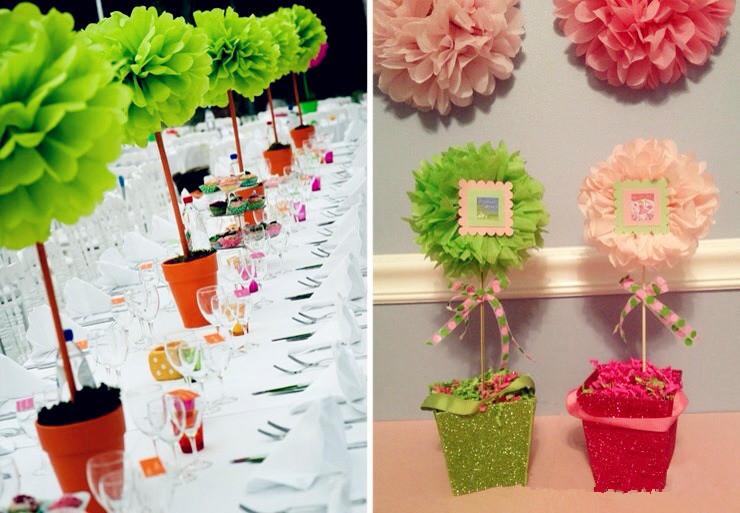 Как украсить зал цветами из бумаги