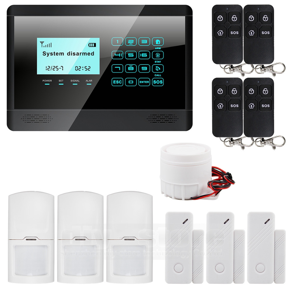 Wireless& Wired GSM SMS Home House Security Inturder Alarm System Siren Door Sensor PIR Remote Controller(China (Mainland))