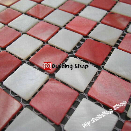White mother of pearl shell mosaics kitchen wall tile backsplash MOP114 mother of pearl tile red pink shell mosaic tiles(China (Mainland))