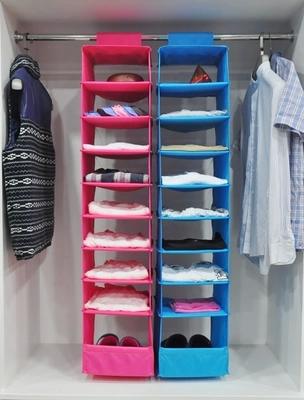 free shipping hot sale Wardrobe storage bag clothing storage bag folding wardrobe hanging storage bag sorting bags 9 #1085(China (Mainland))